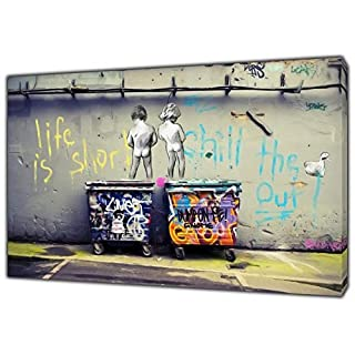 Banksy Life is Short Kids Art Reprint on Framed Canvas Wall Art Home Decoration 24'' x 16 inch -18mm Depth