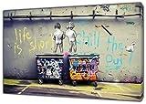 Banksy Life is Short Kinder Art Nachdruck auf Rahmen Leinwand Wand Art Home Dekoration, 40'' x 30'' inch(102x 76 cm)-18mm depth