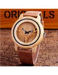 Reloj de madera Tabla de madera de cuero antiguo correa de cuero Tabla de madera del estudiante del reloj de madera de la alta calidad brown