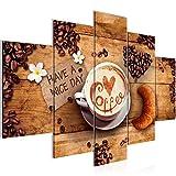 Bilder Küche Kaffee Wandbild 150 x 100 cm Vlies - Leinwand Bild XXL Format Wandbilder Wohnzimmer Wohnung Deko Kunstdrucke Braun 5 Teilig -100% MADE IN GERMANY - Fertig zum Aufhängen 501253a