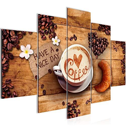Bilder Küche Kaffee Wandbild 150 x 100 cm Vlies - Leinwand Bild XXL Format Wandbilder Wohnzimmer Wohnung Deko Kunstdrucke Braun 5 Teilig -100{9e5660148b9b9f06cf88e21633c6852ed719007ca5f4d0a4431b3129cef6a576} MADE IN GERMANY - Fertig zum Aufhängen 501253a