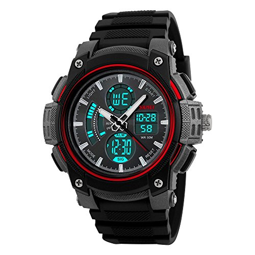 farsler Herren Multifunctional 50 m Wasserdicht Dual Time Display EL Licht Elektronische Armbanduhr Outdoor Sports Herren und Frauen Studenten Schwimmen Tauchen Digital Handschlaufe Armbanduhr (rot)