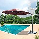 Placehap Gartenschirm, 3 m, Aluminium, freitragend, Sonnenschirm, Abdeckung für Terrasse, Sonnenschutz, 360 Grad drehbar, ohne Stein