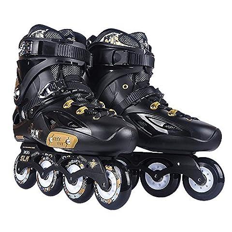 Crayom Sicherheit Keine Angst Einzelne Reihe von flachen Schuhen Flash-Skating-Schuhe gerade Runde Erwachsene Männer und Frauen Rollschuhe Rollschuhe Skates bekommen eine Spree ( Color : Black-full flash , Size : 36 )