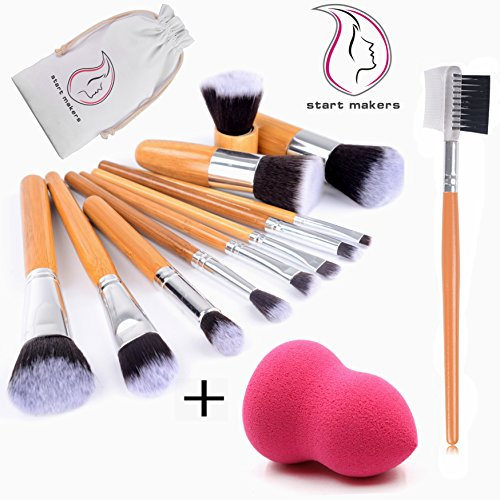 Start Makers Professionnel 13pcs Maquillage Kit Pinceaux pour Fondation A Noir Eyebrow Shadow Blush Lip Maquillage Brushes Brosse Set & 1 pcs Beauté Éponge