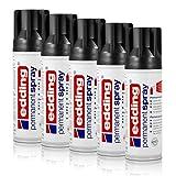 5x edding Permanent Spray tiefschwarz glänzend 200 ml Premium Acryllack, RAL 9005