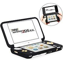 HEYSTOP Nintendo New 2DS XL Silikon Hülle (Schwarz), Antirutsch Silikon-Schutzhülle für Nintendo New 2DS XL (2017) mit Schwarz Host Silikonhülle Schutzhülle leichtgewichtig designt