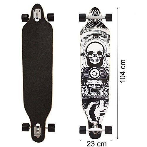 Longboard Typ 1 Totenkopf schwarz-weiss-grau -