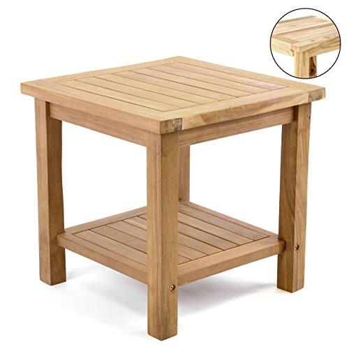 Divero Beistelltisch Blumen Hocker Balkontisch Teak Holz Tisch für Terrasse Balkon Garten –...