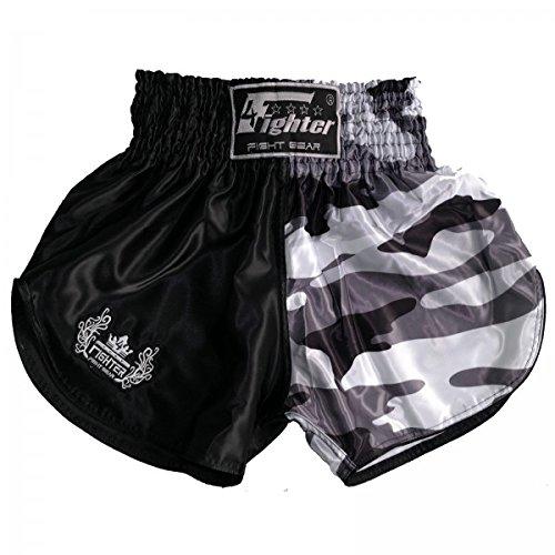 4Fighter Muay Thai Kickboxing Shorts schwarz camouflage grau-weiss mit hohen Schlitzen, Größe:M