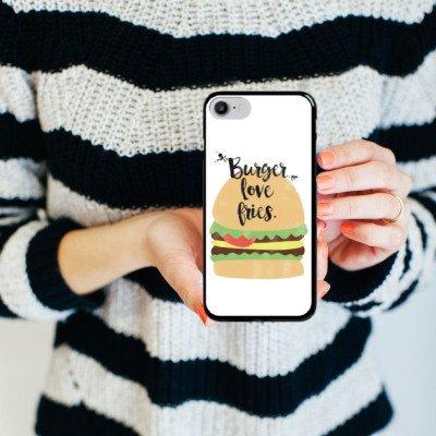 Apple iPhone X Silikon Hülle Case Schutzhülle Burger Fastfood Essen Hard Case schwarz