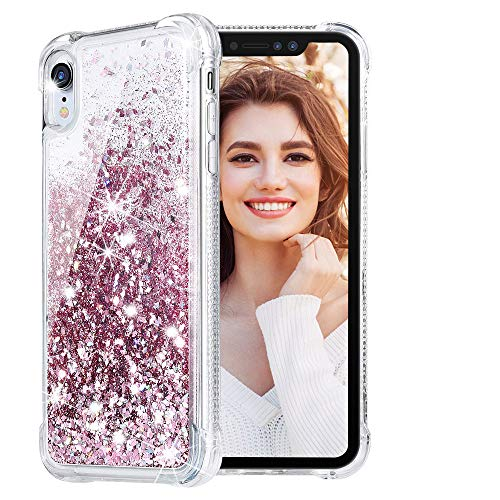Bling Cover Case (HWeggo iPhone XR Glitzer Hülle,Flüssig Bewegende Treibsand Transparent Handyhülle Glitzer Luxury Bling Case Cover für iPhone XR - Rosegold)