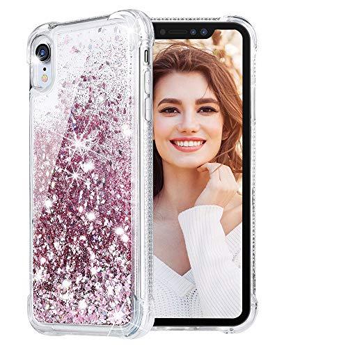 HWeggo iPhone XR Glitzer Hülle,Flüssig Bewegende Treibsand Transparent Handyhülle Glitzer Luxury Bling Case Cover für iPhone XR - Rosegold