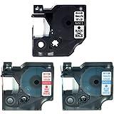 nineleaf Negro/Azul/Rojo sobre Blanco 12mm estándar etiquetado compatible para DYMO D1450134501445015LabelManager 160Label Tape