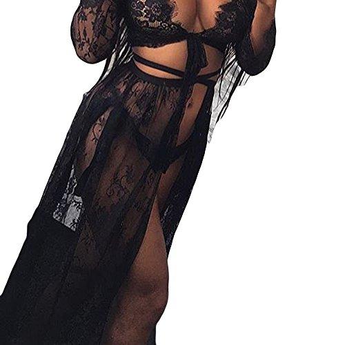 Kobay pannello esterno della protezione solare della biancheria del pannello esterno della gonna della fasciatura della bamboletta del merletto delle ragazze delle donne di modo(nero,m)