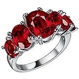 Adisaer Sterling Silber Ringe Verlobungsring Damenring Diamant Rot Oval Bandring mit Stein Größe 57 (18.1)