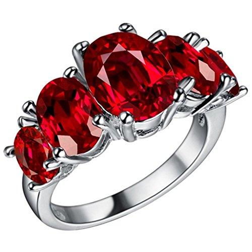 Adisaer Sterling Silber Ringe Verlobungsring Damenring Diamant Rot Oval Bandring mit Stein Größe 54 (König Titan Kostüm)