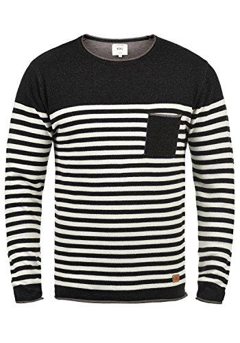 Redefined Rebel Mannix Herren Strickpullover Feinstrick Pullover Mit Rundhals-Ausschnitt Aus 100% Baumwolle, Größe:M, Farbe:Black - Feinstrick-piqué