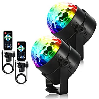 Litake Party Lights, USB Plug-in Disco Ball Strobe Light Disco Lights, 7 Colors Sound Activated Stage Light with Remote Control for Festival Bar Club Party Wedding Show Home - 2 Pack