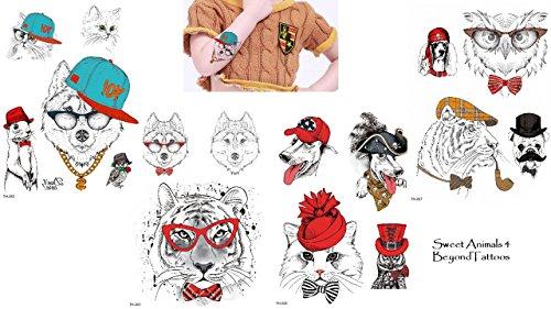 Animal Tatuajes Perros Tatuajes Multicolor 4hojas Juego para fiestas y diversión Sweet...