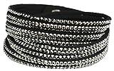 Mevina Damen Strass Armband Wickelarmband Armschmuck mit echten Kristallen in viele Farben Schwarz/Grau A1107