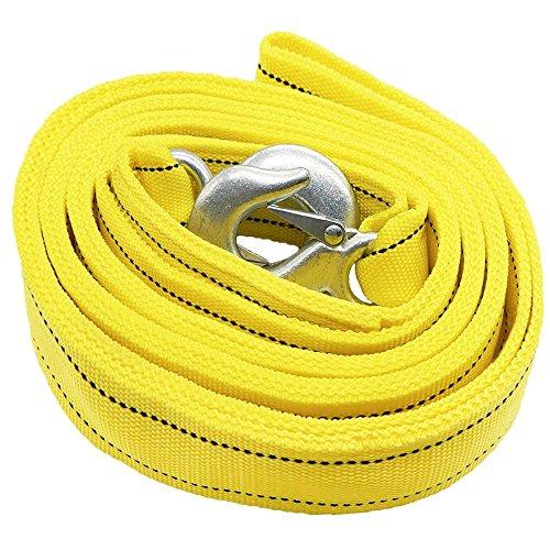 Doppelt Dick Autozubehör Abschleppseil 4 Meter 5 Tonnen Dickere Seil mit Haken für Fahrzeug Gelb mit eine Reißverschluss Tragetasche