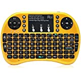 (Updated With Backlit)Rii i8+ 2.4GHz Mini Mobile Wireless Keyboard with Touchpad Mouse , Backlit LED, Rechargable Li-ion Battery And comfortable Silicone back Cover for for PC,Laptop,Raspberry PI 2, MacOS,Linux, HTPC, IPTV, google Android Smart TV Box ,XBMC,Windows 2000 XP Vista 7 8 10,UK Layout (Golden)