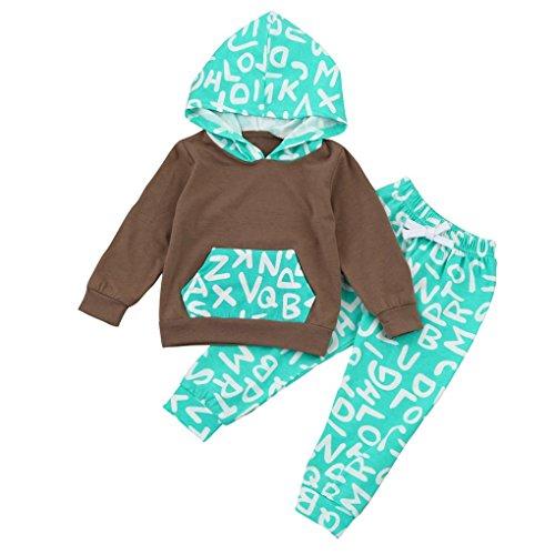 sunnymi Mode 2-teilig★Mädchen Junge Oberseiten-T-shirt + Hose Kleidung Set ★Brief Muster/Newborn Baby Geschenk/Weihnachten Familie Kleidung Geburtstag Anzug (18-24 Monate)
