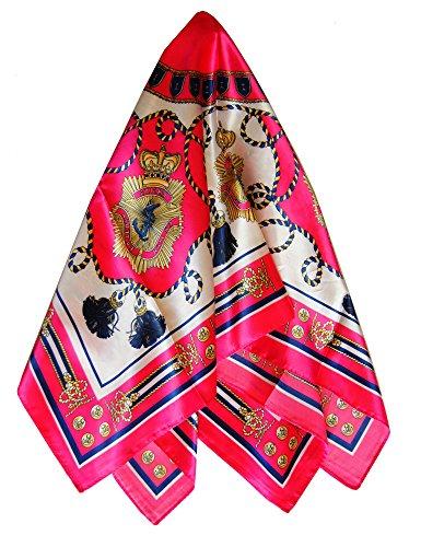 Foulard carré 85 x 85 motifs pompons et ancres rose fushia ou orange - scarf - Rose fushia