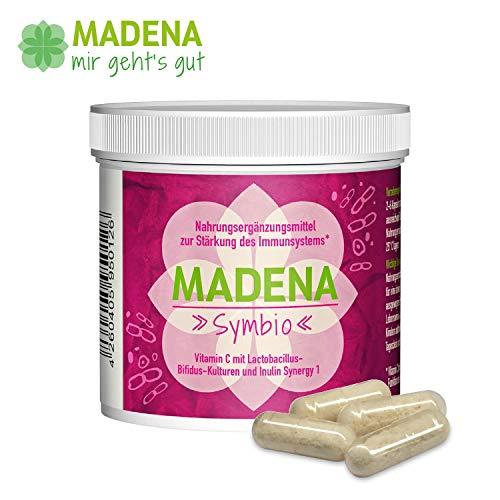 MADENA Symbio   50 Kapseln   konzentrierte Lactobacillus-Bifidus-Kulturen   Inulin Synergy 1   Vitamin C   Ohne Gluten, Laktose, Farb- und Konservierungsstoffe   100% Gelatine-frei   Premiumqualität
