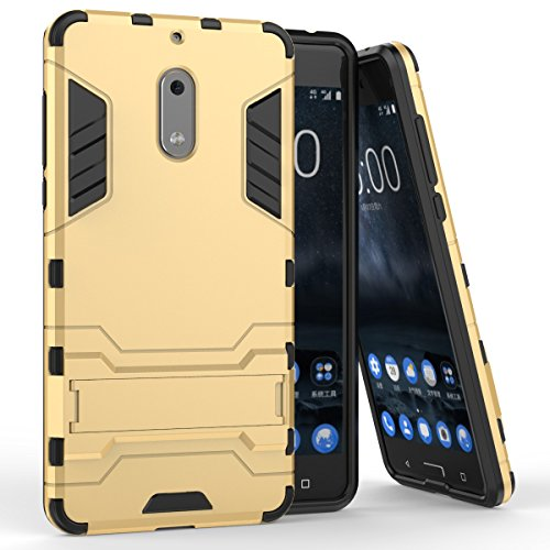 Für Nokia Lumia 6 Case 2 In 1 Dual Layer TPU / PC Defender Hybrid Armor Shock-Absorption Stoßfänger & Anti-Scratch Back Cover mit Stand Shockproof ( Color : Red ) Gold