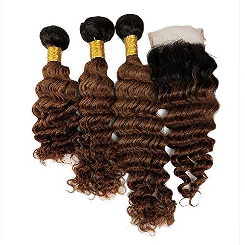 Mila 3 Tissage Bouclés en lot Tie and Dye Marron Clair 8# 100% Remy Ombre Brun Bresilienne Curly Meches Humain Cheveux avec Lace Closure (20\