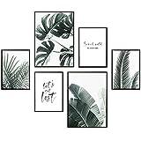 Heimlich Premium Poster Set | Stilvolles Set mit passenden Bilder als Wohnzimmer Deko | 2 x DIN A3 & 4 x DIN A4 - ca. 30x40 & 20x30 | Auch mit Bilderrahmen » Palmen & Monstera «