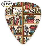 Nerd Book Lover Kitty Sleeping Over Bookshelf In Library Guitar Picks 12/Pack