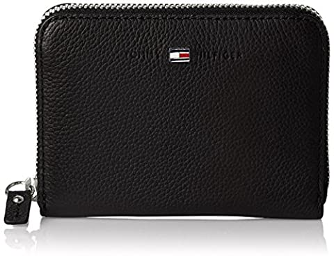 Tommy Hilfiger Damen Basic Leather Compact Z/a Wallet Geldbörse, Schwarz (Black), 10x3x14 cm