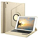 Ipad Air 2 Bluetooth Tastatur Hülle, Boriyuan 360 Grad drehbar Leder Case Schutz Tasche Cover mit Bluetooth Wireless Tastatur (Deutsche QWERTZ) keyboard case für Apple iPad Air 2 (Gold)