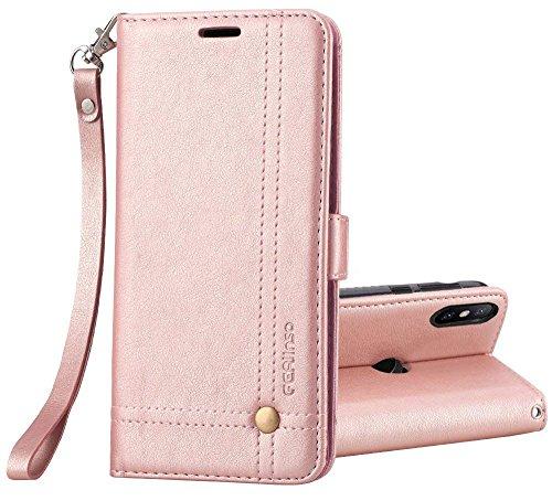 Ferilinso Funda Xiaomi Mi 8/Xiaomi Mi 8 Pro, Carcasa Cuero Retro Elegante con ID Tarjeta de Crédito Tragamonedas Soporte de Flip Cover Estuche de Cierre magnético (Oro Rosa)
