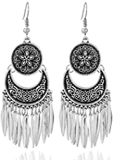 Crunchy Fashion Metal Oxidised Silver Long Lotus Earrings for Women