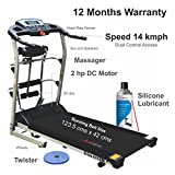 #9: Healthgenie 4in1 Motorized Treadmill 4112M with Free Massager, Tummy Twister & Silicone Lubricant 550ml, Max Speed 14 Kmph - 12 Months Warranty