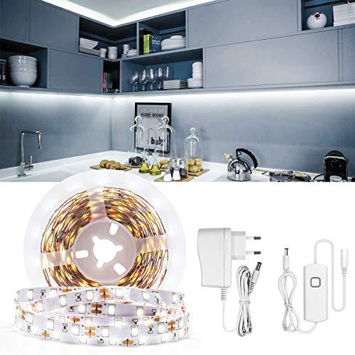 Dimmbar LED Strip 5M LED Unterbauleuchte 12V 2835 150 LEDs LED Streifen mit Controller und UL-Leistung Schranklicht Küchenleuchte Schrankleuchte Weißes 6000-65000K