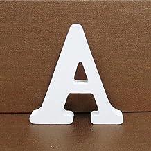 Letras de Madera, Toifucos A-Z 10cm DIY Madera de Alfabeto Inglés Adornos artesanales para Casa Boda Cumpleaños Decoración de fiesta Accesorios, Blanco 1 pieza A