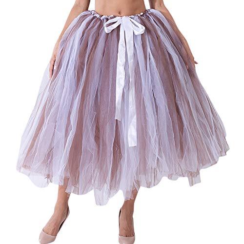 JMETRIC Damenmode Hohe Taille Großen Swing Mesh Tutu Halblangen Rock Prinzessin Kleid Verstellbaren Gürtel(Kaffee)