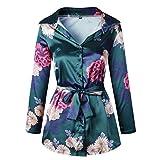 GreatestPAK Blumendruck Damen Bluse Satin Seide lose Damen Kleid mit V-Ausschnitt T-Shirt,Grün,M