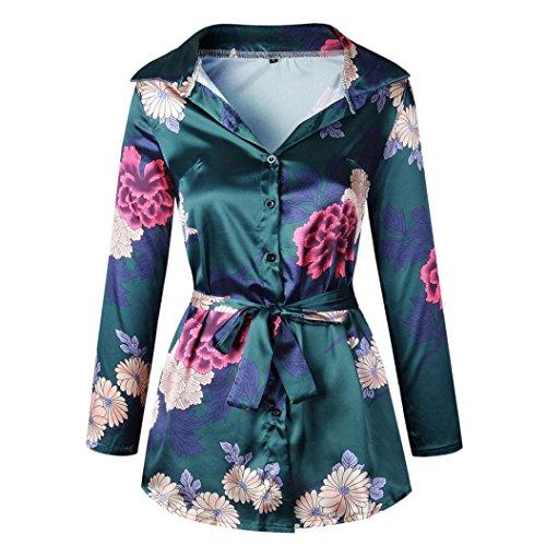 GreatestPAK Blumendruck Damen Bluse Satin Seide lose Damen Kleid mit V-Ausschnitt T-Shirt,Grün,XL