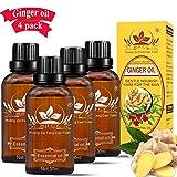 Huile de gingembre, huile de massage au gingembre, huile essentielle de plante, Drainage lymphatique Huile essentielle de gingembre, paquet de 4 avec manuel en anglais (Ginger)