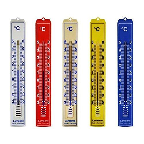 Lantelme 4128 Juego de 5 unidades Analog Interior Exterior Jardín Termómetro. Mercurio libre. Juego con los siguientes colores rojo, amarillo, beige, azul, color blanco