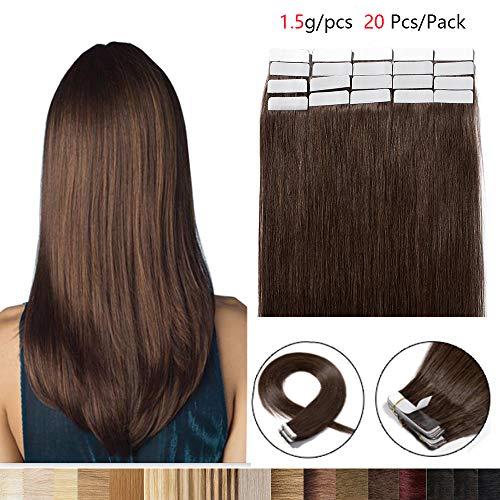 Adesivo extension capelli veri umani indiani lisci 20 fasce #4 marrone cioccolato 50cm 30g/pacchetto
