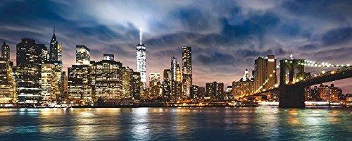 Brooklyn Bridge Lichter (Artland Echt-Glas-Wandbild Deco Glass Unknown New York City - schöner Sonnenaufgang über Manhattan mit Manhattan und Brooklyn Bridge USA Städte Amerika NewYork Fotografie Blau 50 x 125 x 1,1 cm C8WV)
