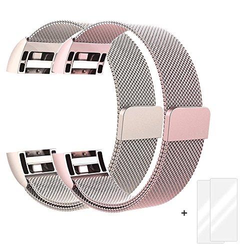 Fun Sponsor Fitbit Charge 2 Armband, Milanese Edelstahl Handgelenk Ersatzband Armbänder mit Magnet-Verschluss für Fitbit Charge2 Roségold & Champagner + Bonus 2 Displayschutzfolie by (Edelstahl-training)
