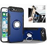 Funda iPhone 7 / plus Rexang [Con 360 ° Kickstand] Rotativo Ring Caso [Montaje de Coche Magnético] carcasa Doble Capa a Prueba de Choque protectora para iPhone 7 / plus (iPhone 7 plus, Zafiro)